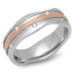 Vergoldeter Ring Edelstahl 7mm Zirkonia