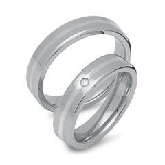 Trauringe Edelstahl mit Silbereinlage 5mm breit