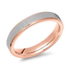 Edelstahlring teilvergoldet rosé 4mm breit
