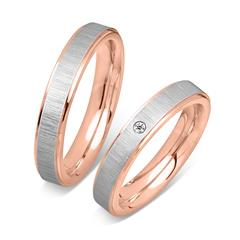 Partially Polished Stainless Steel Wedding Rings Pink Zirconia