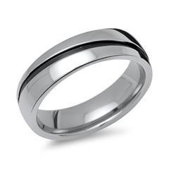 Ring aus Edelstahl poliert schwarze Rille 6mm