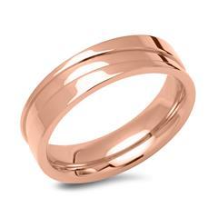 Rosévergoldeter Edelstahl Ring mit Glanzrille