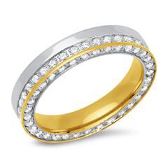 Ring Edelstahl Zirkonia zweifarbig 4,5 mm breit