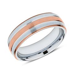 Ring aus Edelstahl teilweise rosévergoldet gravierbar