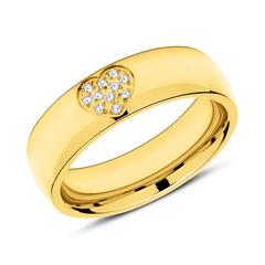 Gravierbarer Ring Herz Edelstahl vergoldet mit Zirkonia