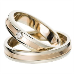 White And Rose Gold Wedding Rings 4mm