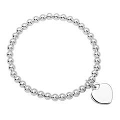 925 Silber Perlenarmband mit Herzcharm
