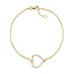 Vergoldetes 925 Silberarmband Herzanhänger