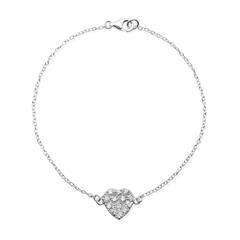 925 Silberarmband mit Herzanhänger Zirkonia