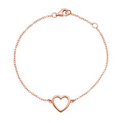 Silber armband  Goldkette mit steinbesetztem Herz-Anhänger GP0186SLK