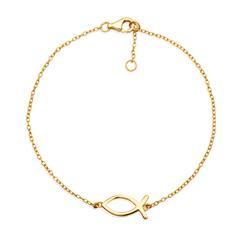 Vergoldetes 925 Silberarmband mit Ichthys