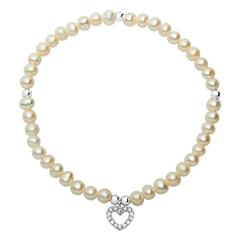 Modernes Armband Perlen Herzanhänger
