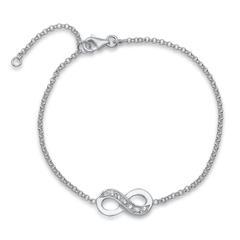 925er Silberarmband Infinity mit Steinbesatz