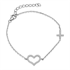 Filigranes 925er Silber Armband mit Herzen