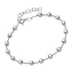 Armband 925er Silber mit eckigen Beads