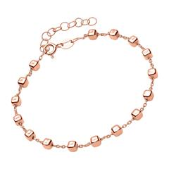 Armband rosévergoldetem Silber mit eckigen Beads
