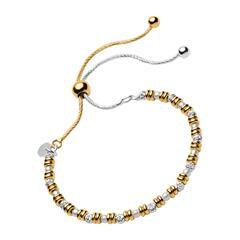 Silber-Armband mit vergoldeten Details und Perlen