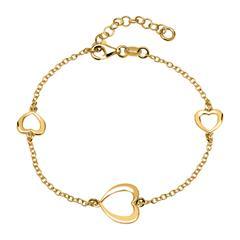 925er Silberarmband mit goldenen Herzelementen
