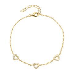 Armband Herzen aus 925er Silber vergoldet mit Zirkonia
