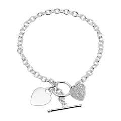 Herzarmband aus Sterlingsilber mit Zirkonia gravierbar