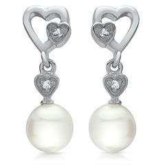 Exklusive Ohrstecker 925 Silber Perle Herz