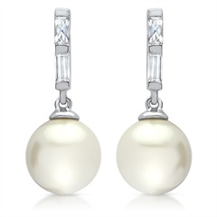 Exklusive Ohrstecker 925 Silber Perle & Zirkonia