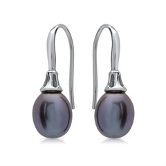 Glänzende Perlen Ohrhänger 925 Sterling Silber