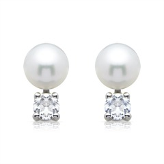 Weiße Perlenohrstecker: 925 Silber mit Zirkonia
