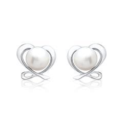 Weiße Perlenohrstecker: 925 Silber