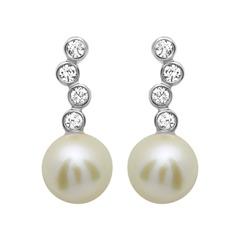 Ohrstecker 925 Silber Zirkonia Perle Weiß