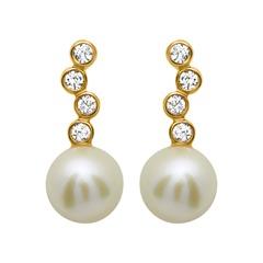 Ohrstecker 925 Silber vergoldet Zirkonia Perle