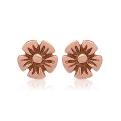 Rosé vergoldete Ohrstecker 925 Silber Blütenform