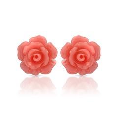 Rosa Blütenohrstecker aus 925er Sterling Silber