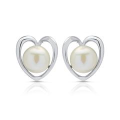 Herzförmige Silberohrstecker mit echter Perle