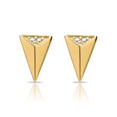 Ohrstecker Dreieck 925er Silber vergoldet Zirkonia