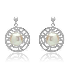 Ohrschmuck mit Perlenbesatz rhodiniertes Silber