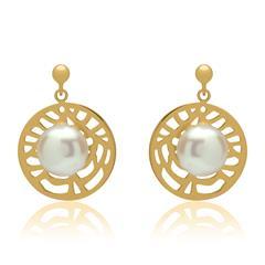 Vergoldete Ohrstecker ovale Perle 925er Silber
