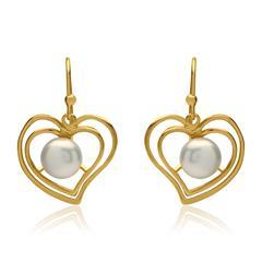 Herzförmiger Ohrschmuck ovale Perle 925er Silber