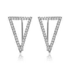 Dreieckige Ohrhänger 925er Silber Zirkonia