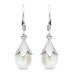 Florale Silberohrhänger mit Perle 925er Silber