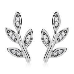 Ohrstecker Blätter 925er Silber Zirkonia