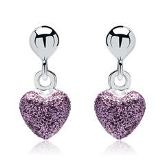 925er Silberohrstecker mit lila-glitzernden Herzen