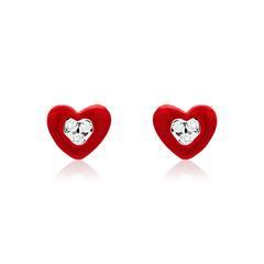 Ohrstecker rote Herzen aus 925er Silber mit Zirkonia