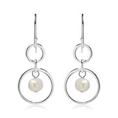 Kreis Ohrhänger aus 925er Silber mit Perlen