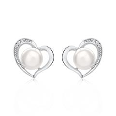 Herzohrstecker aus Sterlingsilber mit Perlen Zirkonia