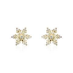 Damen Ohrstecker Schneeflocken aus 925er Silber, gold