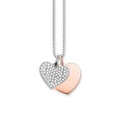 Kette Herzen aus 925er Silber bicolor