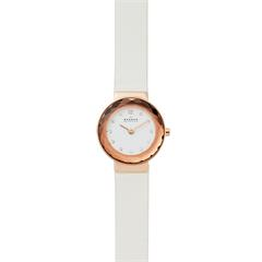 Leonora watch for ladies with white leather strap