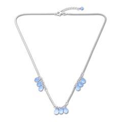 Echt 925er Silber Collier mit blauen Zirkonia
