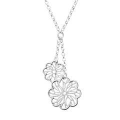 925 Silberkette mit Blumenanhängern